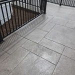 gray stamped concrete pattern on walkway